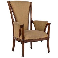 French Art Nouveau Bergére Arm Chair