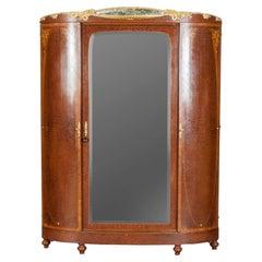 French Art Nouveau Wardrobe Cabinet Marquetry Vereerd Burl Walnut