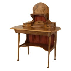 French Art Nouveau Writing Desk with a Floral Inlay in the Manner of Majorelle