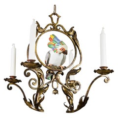 French Art Nouveau Wrought Iron and Porcelain Parrot Figurine Candle Chandelier