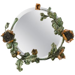 French Art Nouveau Wrought Iron Poppies Floral Round Wall Mirror, 1930s