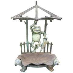 French Art Nouveau Wrought Iron Umbrella Stand with Frogs