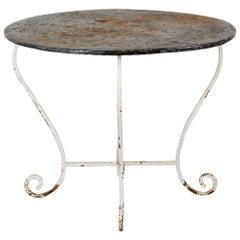 French Art Nouveau Wrought Iron Zinc Painted Garden Table