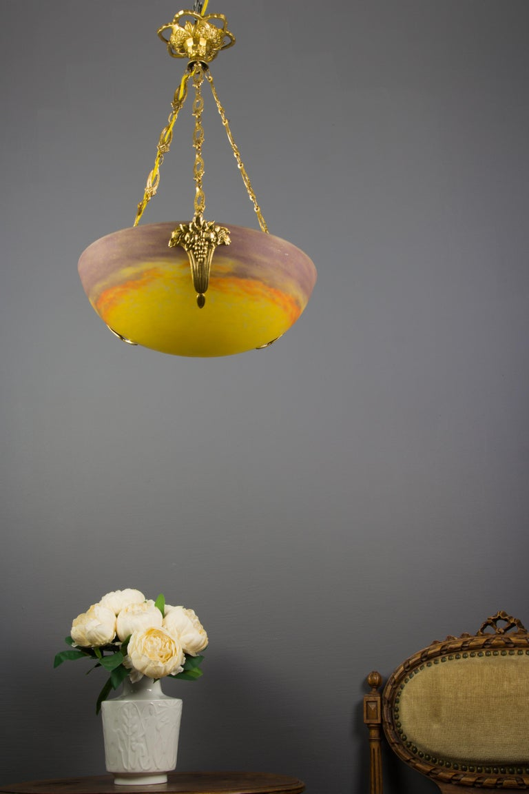 Early 20th Century French Art Nouveau Yellow Glass Bowl Pendant Chandelier by Muller Frères, 1920s For Sale