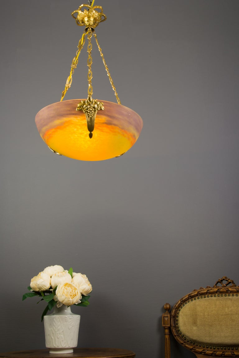 French Art Nouveau Yellow Glass Bowl Pendant Chandelier by Muller Frères, 1920s For Sale 1