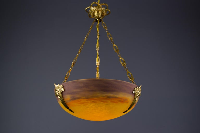 French Art Nouveau Yellow Glass Bowl Pendant Chandelier by Muller Frères, 1920s For Sale 3