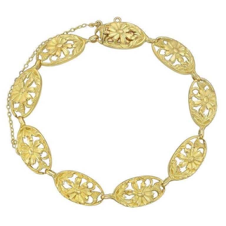 French Art Nouveau Yellow Gold Link Bracelet For Sale