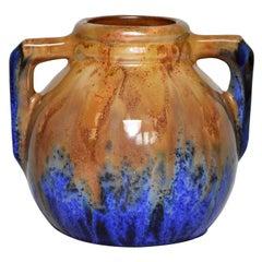 French Art Pottery Metenier Blue Ceramic Vase Pot