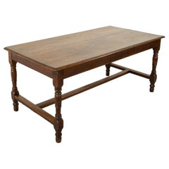 French Artisan Made Oak Farm Table or Dining Table, circa 1900