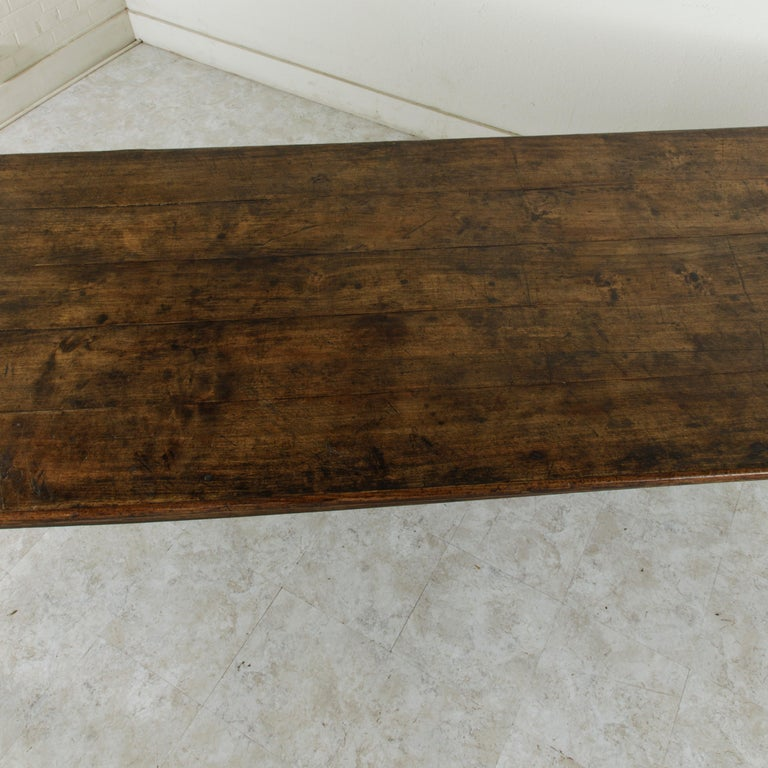 French Artisan Made Oak Farm Table or Dining Table with Cutting Board 8