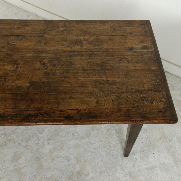 French Artisan Made Oak Farm Table or Dining Table with Cutting Board 9