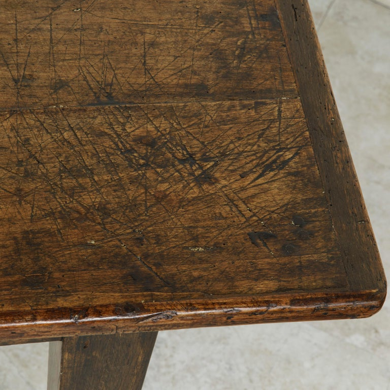 French Artisan Made Oak Farm Table or Dining Table with Cutting Board 10