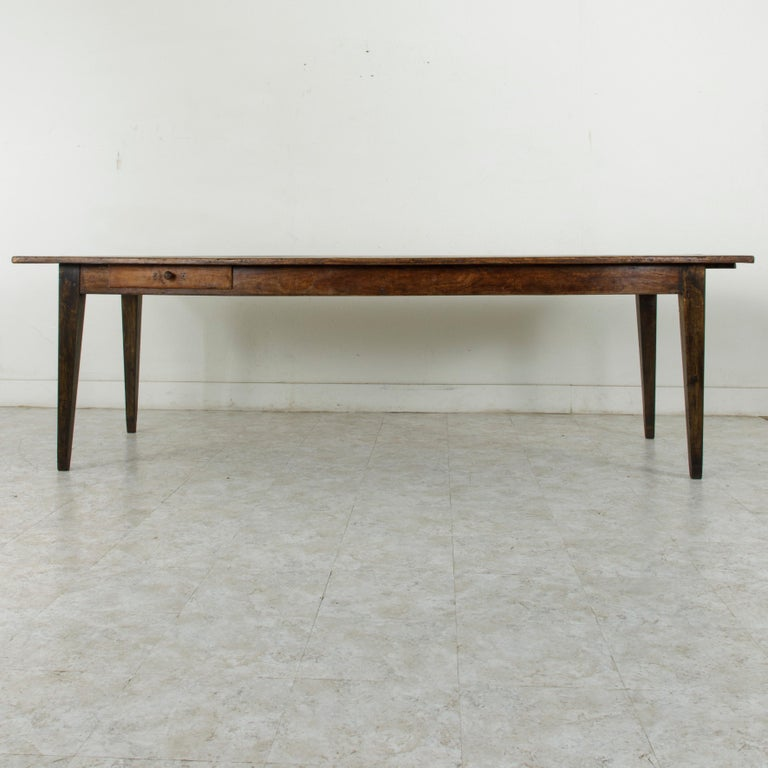French Artisan Made Oak Farm Table or Dining Table with Cutting Board In Good Condition In Fayetteville, AR