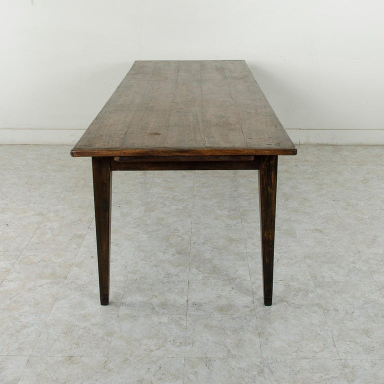 Early 20th Century French Artisan Made Oak Farm Table or Dining Table with Cutting Board