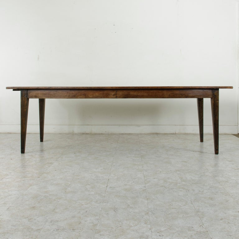 French Artisan Made Oak Farm Table or Dining Table with Cutting Board 2