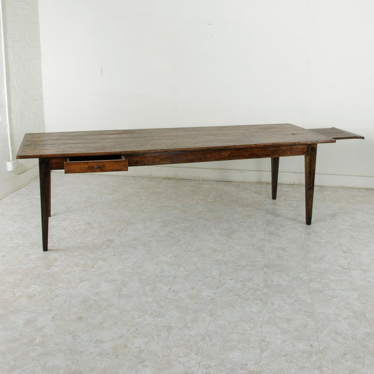 French Artisan Made Oak Farm Table or Dining Table with Cutting Board 4