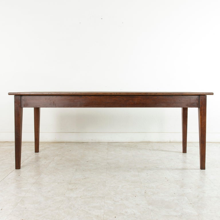 French Artisan-Made Oak Farm Table Or Dining Table With