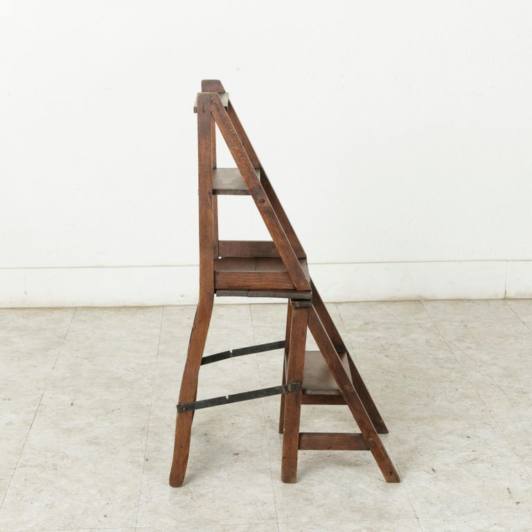 French Artisan-Made Oak Folding Ladder Chair or Library Ladder, circa 1900 For Sale 6