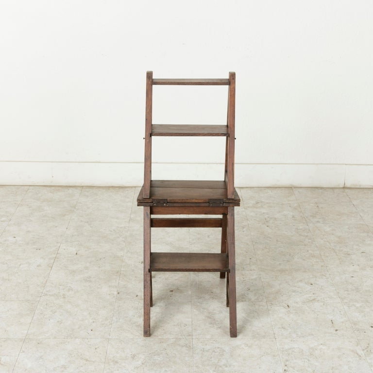 French Artisan-Made Oak Folding Ladder Chair or Library Ladder, circa 1900 For Sale 3