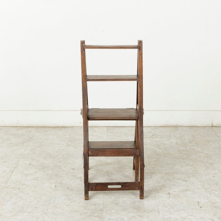 French Artisan-Made Oak Folding Ladder Chair or Library Ladder, circa 1900 For Sale 5
