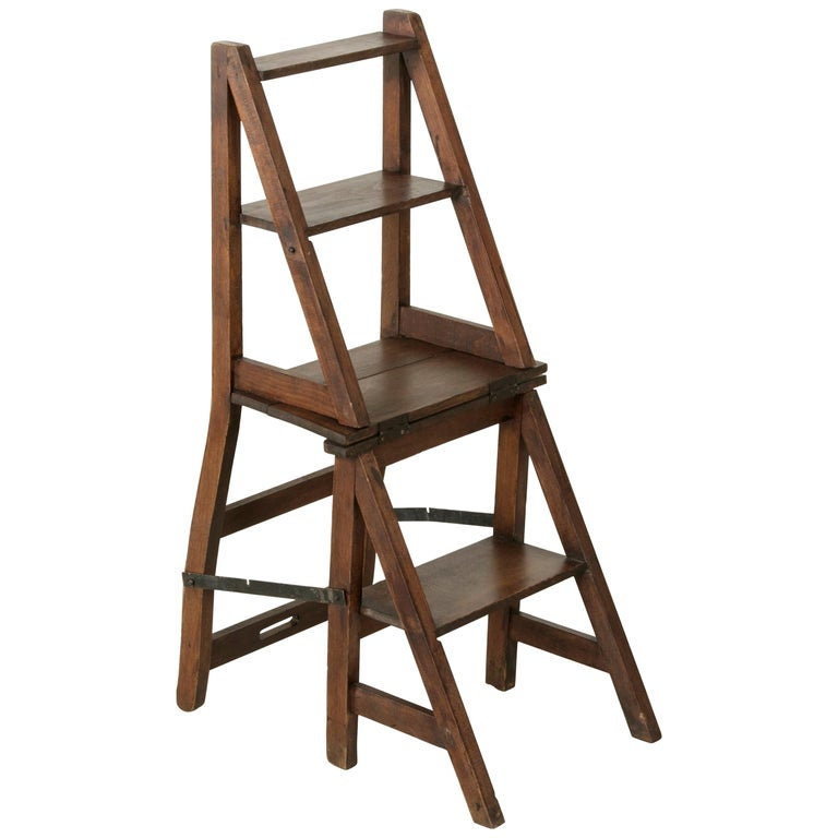 French Artisan-Made Oak Folding Ladder Chair or Library Ladder, circa 1900 For Sale