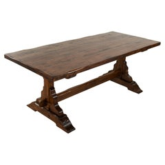 French Artisan-Made Oak Monastery Table, Trestle Dining Table, circa 1930s