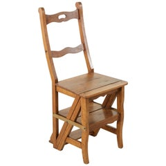 French Artisan-Made Walnut Folding Ladder Chair Library Ladder, circa 1900