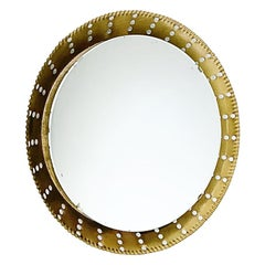 French Artisanal Illuminated Golden Sunburst Wall Mirror, 1960s, France