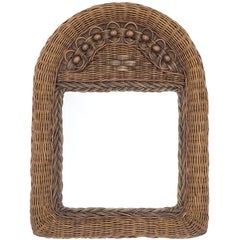 French Artisanal Rattan Wicker Mirror, 1960s