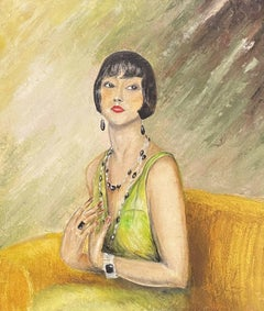 1960s FRENCH OIL - PORTRAIT OF FASHIONABLE LADY GREEN DRESS YELLOW SOFA INTERIOR