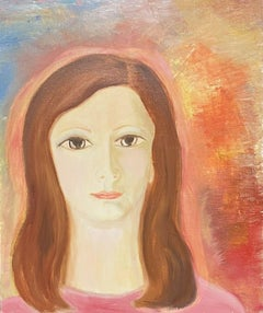 1970's FRENCH OIL PAINTING - HEAD & SHOULDERS PORTRAIT YOUNG LADY PINK & ORANGE