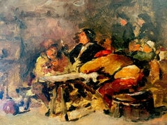 Drinkers in Old Tavern Interior - vintage French post-impressionist painting