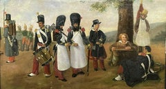 19th CENTURY FRENCH ANTIQUE OIL ON PANEL - FRENCH SOLDIERS MAKING CAMP