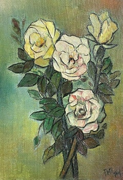 1960's FRENCH MODERNIST SIGNED OIL - STILL LIFE OF YELLOW PINK ROSES GREEN BACK