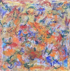 LARGE FRENCH CONTEMPORARY ABSTRACT PAINTING - FUSION OF COLORS BLURRED