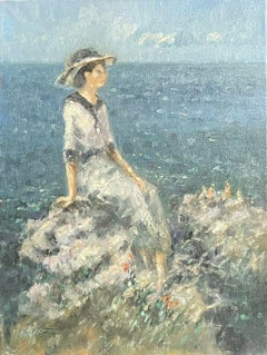 SIGNED FRENCH IMPRESSIONIST OIL - ELEGANT LADY LOOKING OUT TO SEA ON CLIFFS