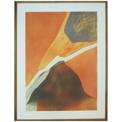 "French Artist Gilou Brillant Modern Orange Etching ""Mention Inotile"""