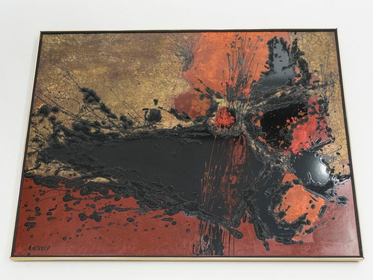 Midcentury design and abstract art come together in this red, black, and orange lacquer panel. It's by prominent 20th century French artist and designer Philippe Cheverny and dates from circa 1970.   The bold splashes of lacquer make this large