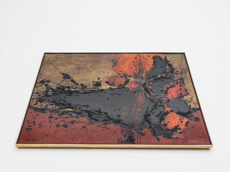 Mid-Century Modern French Artist Philippe Cheverny Lacquer Panel, circa 1970