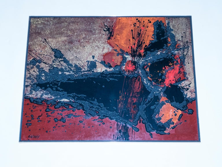 French Artist Philippe Cheverny Lacquer Panel, circa 1970 In Good Condition In Paris, FR