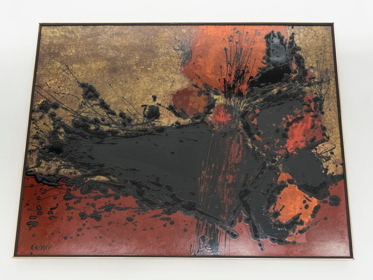 French Artist Philippe Cheverny Lacquer Panel, circa 1970 1