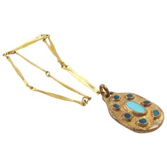 French Artist Willy 1950s Bronze Blue Enamel Pendant Necklace