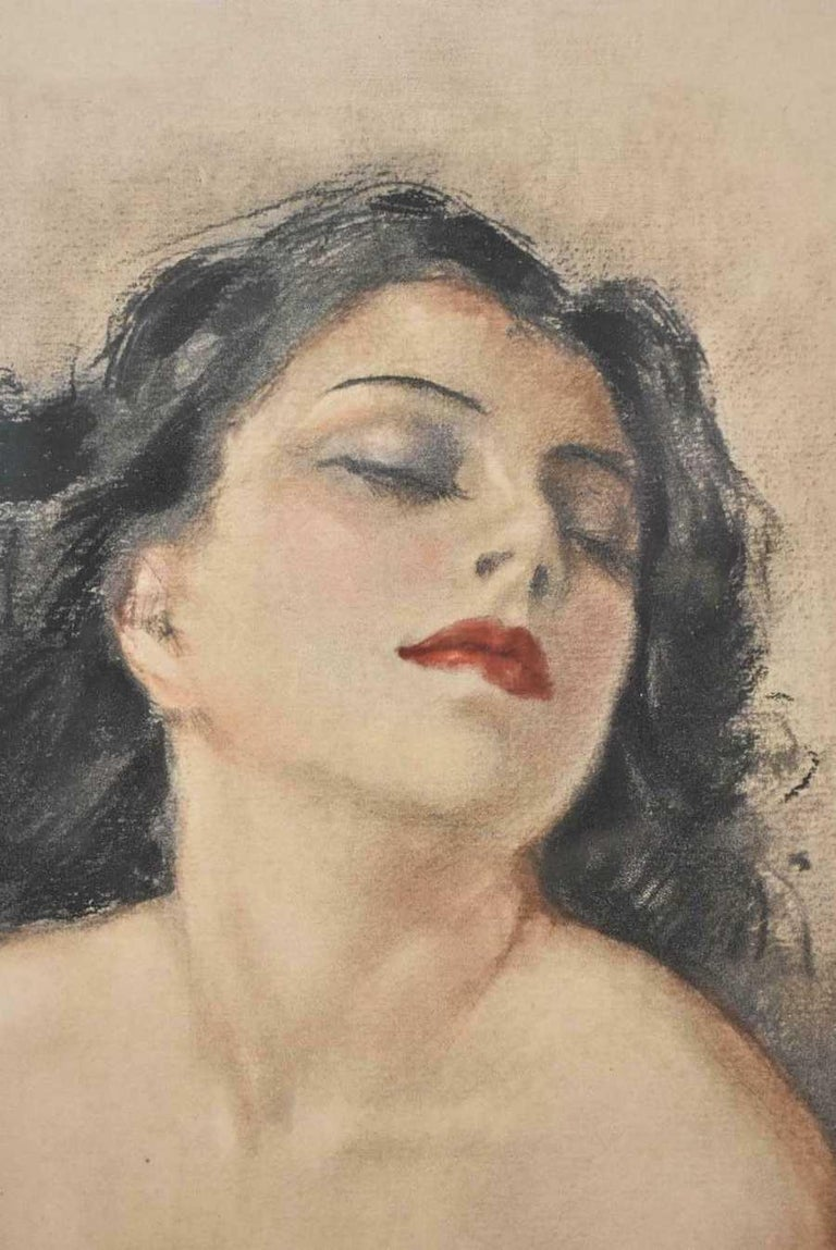 Original pastel on paper by French artist Yves Diey 1892-1984. Vibrant nude of a beautiful brunette woman with a shawl. Titled