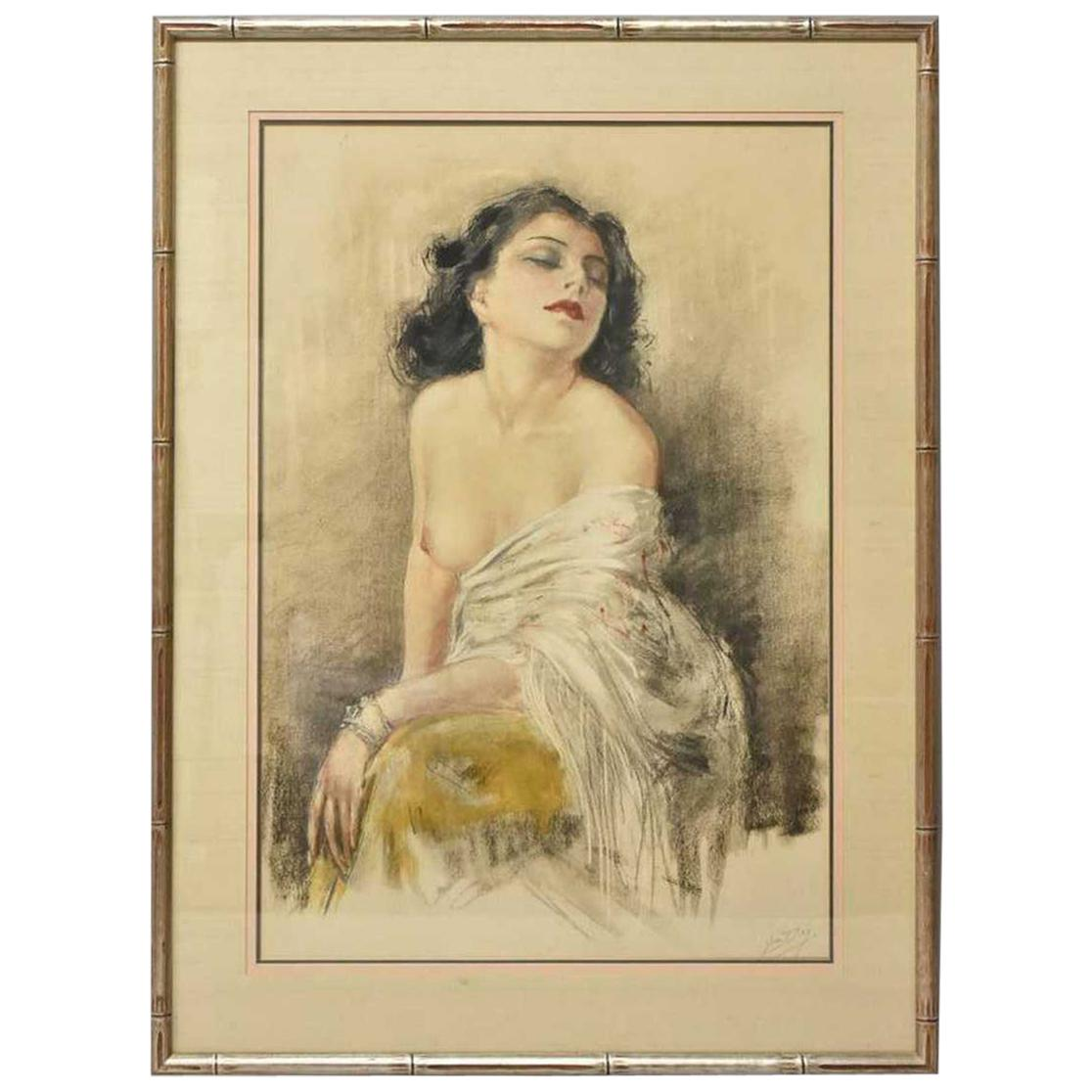 French Artist Yves Diey Pastel Orig. On Paper Woman With Shawl Nude Loves Dream