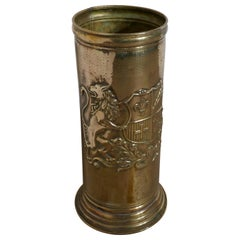 French Arts & Crafts Embossed Brass Stick Stand, Umbrella Stand