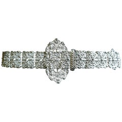 French Arts and Crafts Silver Belt, Articulated Links with Chatelaine Ring
