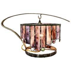 French Arts & Crafts Amethyst Leaded Glass Table Lamp