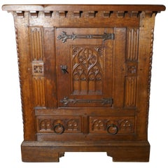 French Arts & Crafts Gothic Carved Golden Oak Cupboard