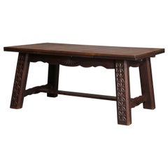 French Arts & Crafts Walnut Parquetry Draw Top Dining Table, Early 20th Century