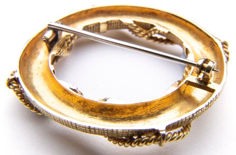 French Asprey 18 Karat Gold Life-Bouy Brooch For Sale 6